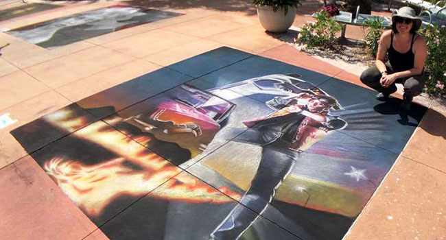 Back to the Future street chalk art
